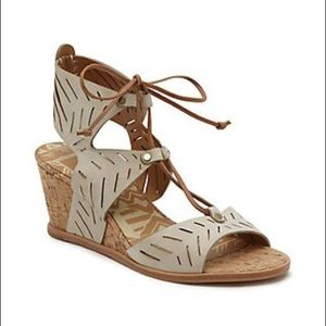 Dolce Vita Langley Tie Front Cork Wedge-Taupe
